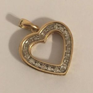 10k and Diamond heart pendant charm